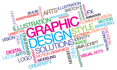 Graphic design colored word tag cloud template illustration