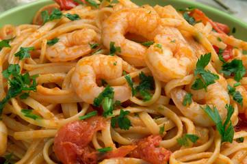 Spaghetti con gamberi