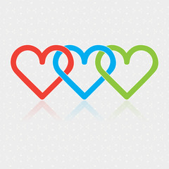 Design associated three Hearts on white glittering background