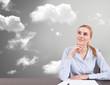 businesswoman thinking at new idea