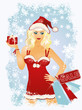 Christmas shopping blonde girl, vector illustration