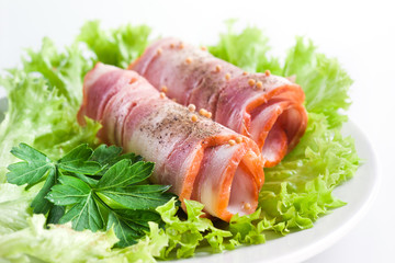 Ham. Bacon roll with spice and herbs