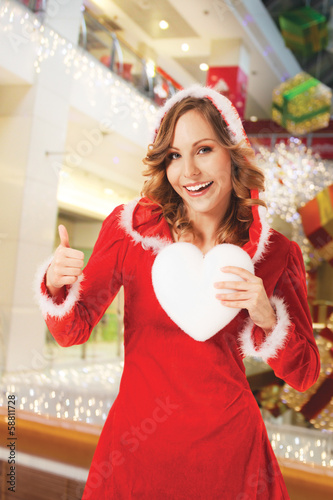santa woman christmas hearth thumbs up