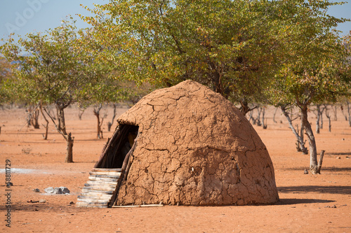 In de dag Droogte Traditional huts of himba people