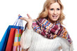 Winter and christmas shopping. Woman holding shopping bags