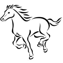 線画走り馬