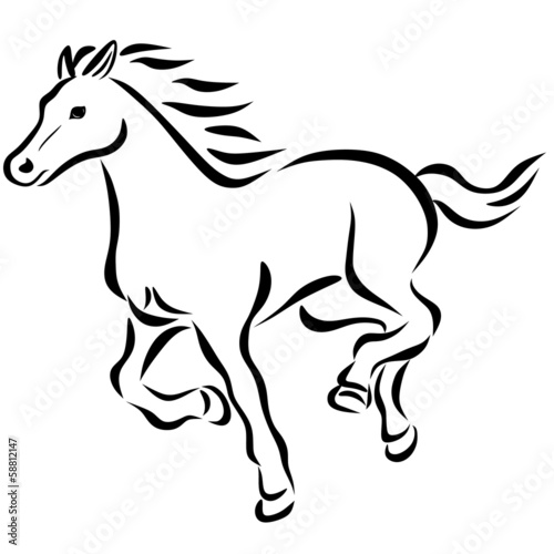 线画走り马