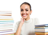 Woman with textbooks, isolated