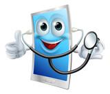Stethoscope Cartoon Phone Mascot