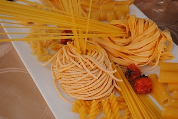 Different kinds of italian pasta.