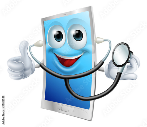 Stethoscope Cartoon Phone Mascot