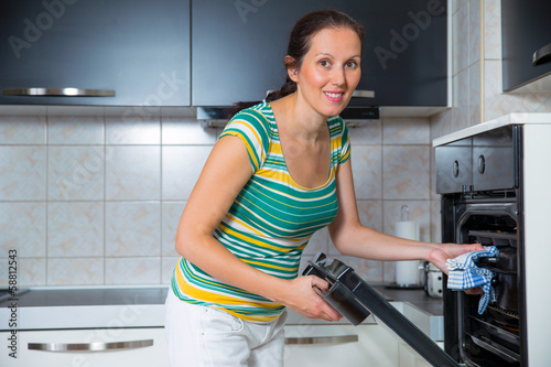 woman in the kitchen baking