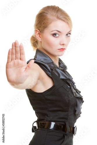 Businesswoman with stop hand sign gesture isolated. Business.