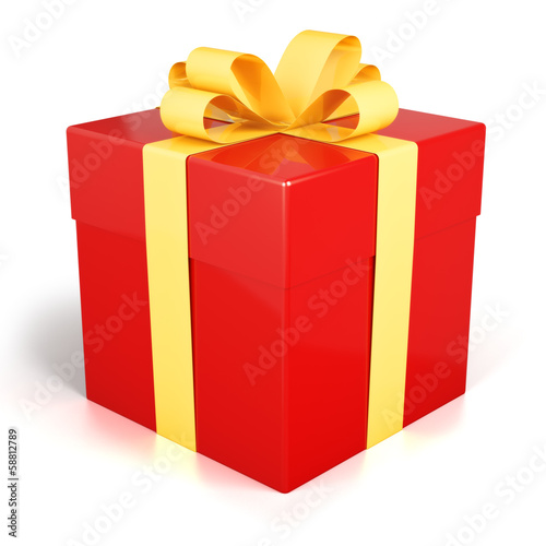 Red gift box present with golden ribbon isolated