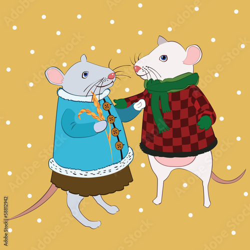 love mouse in bright clothes under falling snow
