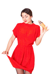 Lovely woman in a red dress soiled ice cream