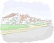 Colorful suburb neighborhood. Cartoon city.