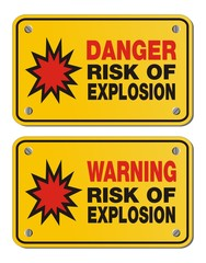 risk of explosion - rectangle yellow signs