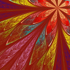 Multicolor fractal flower on red background. Computer generated