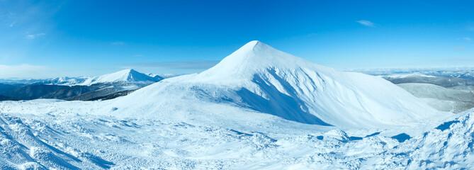 Winter Goverla Mount panorama (Carpathian, Ukraine).