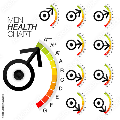 vector men sexual health chart or gauge