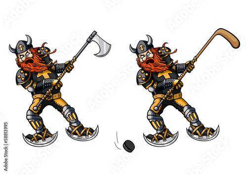 Hockey player with stick and viking with axe