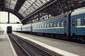 Railway station with train