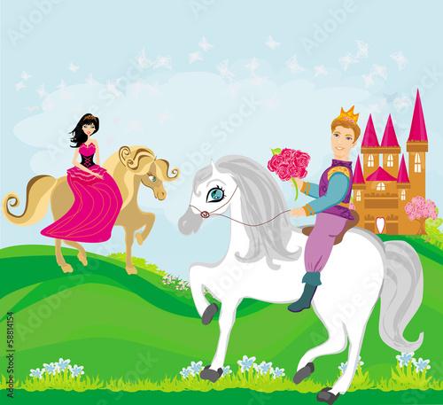 Foto op Aluminium Kasteel prince and princess on their horses