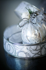 Christmas card with silver balls and ribbon