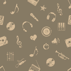 vector seamless grunge music pattern on brown background
