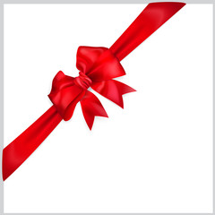Bow of red diagonal ribbon