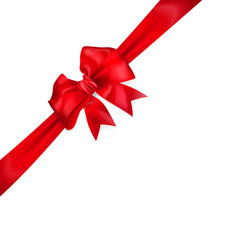 Bow of red diagonal ribbon with cut edges