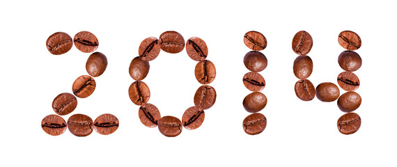 New Year 2014 made of beans coffee