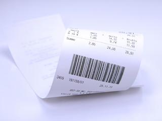 Kassenbon mit Barcode