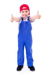 Little handyman showing double thumbs up