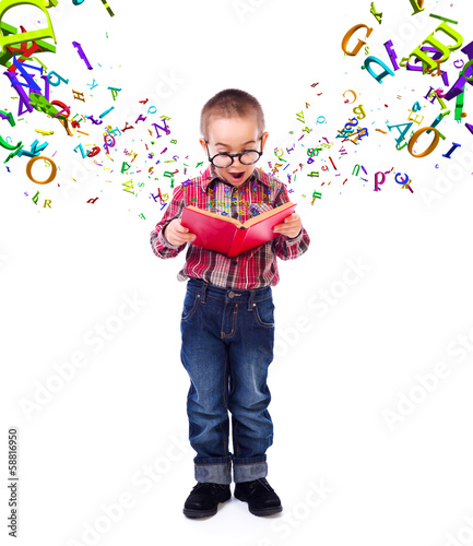 Little boy wondering of flying letters
