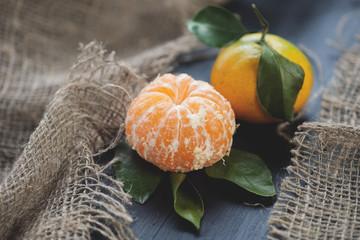Still life fruits: ripe tangerines