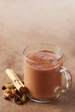 Hot chocolate in a glass cup