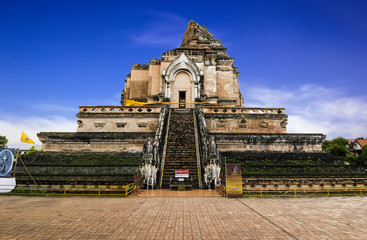 Wat Chedi Luang temple in Chiang Mai with blue sky