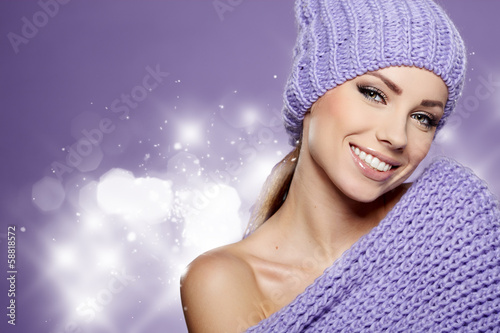canvas print picture Beautiful winter woman in warm clothing