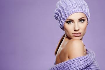 Beautiful winter woman in warm clothing
