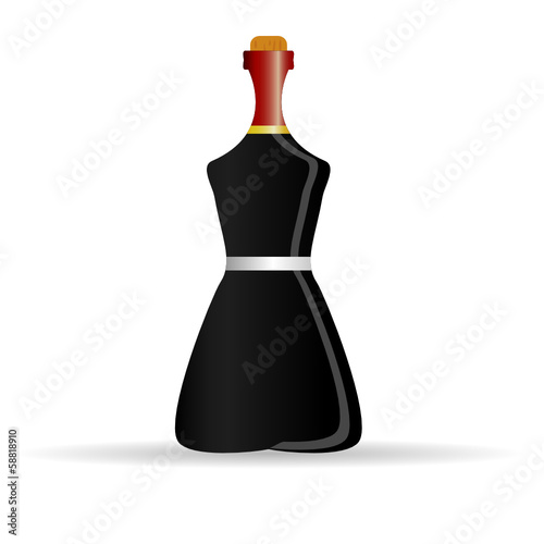 bottle of alcohol color vector illustration