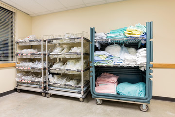 Hospital Supplies Arranged In Trolleys