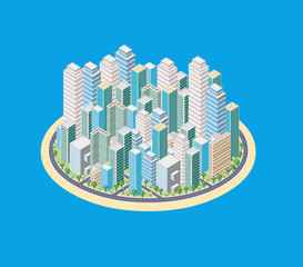 Island with a cartoon isometric city with buildings