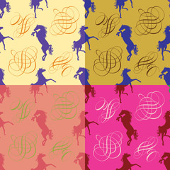 Horses silhouette and monogram.Set of seamless vector pattern