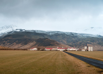 Eyjafjallajokull in Iceland above the farm Thorvaldseyri
