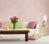 Pink Provence style, romantic interior living room