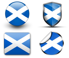 Scotland flag button sticker and badge