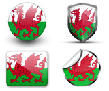 Wales flag button sticker and badge