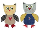 Owls cut out of felt and wool